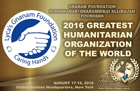 Gnanam Foundation honoured with the title of '2016 Greatest Humanitarian Organization of the World'